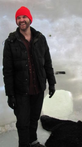 Nolan Johnson in Lake Monona igloo