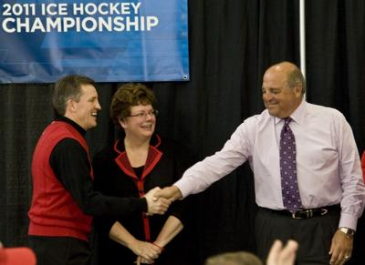 Mark Johnson, Biddy Martin, Barry Alvarez, NCAA UW women's hockey title celebration