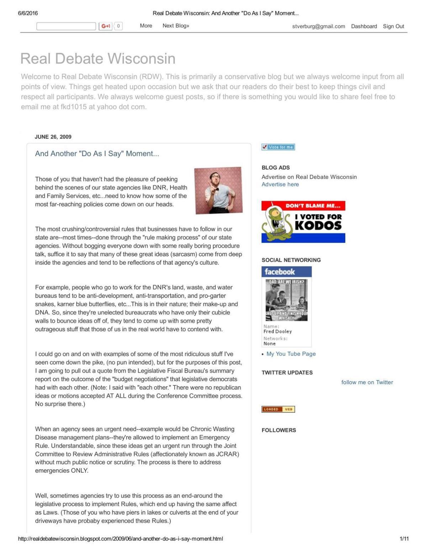 2009 Cathy Stepp blog post