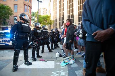 Protest photo, standoff with police