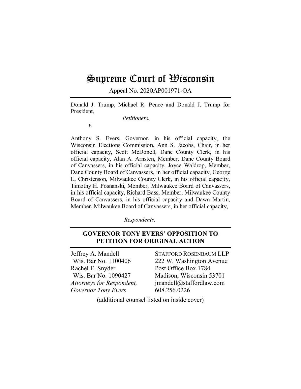 Gov. Evers' response to Trump lawsuit