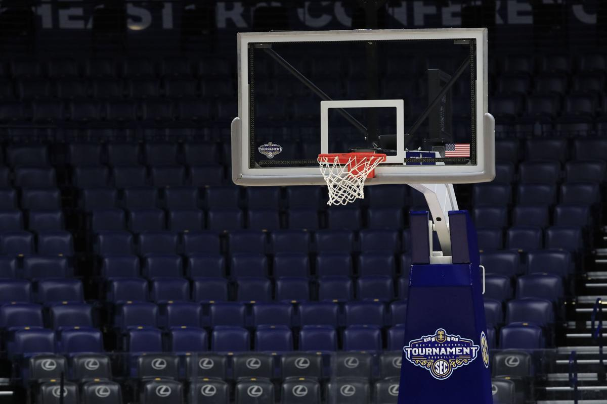 The basket and the arena sit unused after the announcement of the cancellation of the SEC Basketball Tournament at Bridgestone Arena in Nashville, Tenn., amid the Coronavirus pandemic on March 12, 2020.