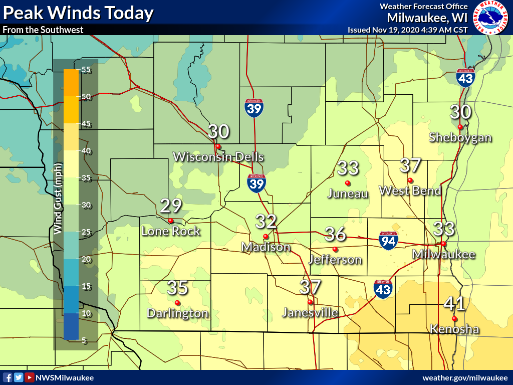 Peak winds Thursday by National Weather Service