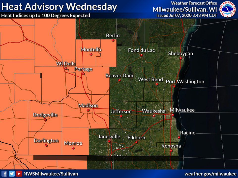 Heat advisory Wednesday by National Weather Service.jfif