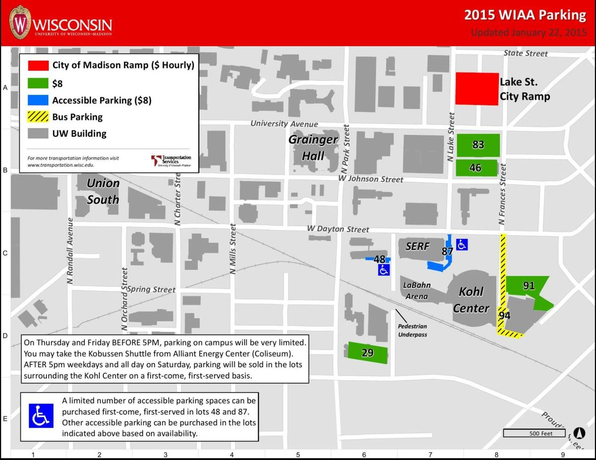 WIAA section fan guide Map of city campus parking near the Kohl
