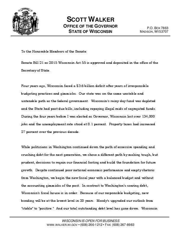 Gov. Scott Walker's vetoes to 2015-17 state budget