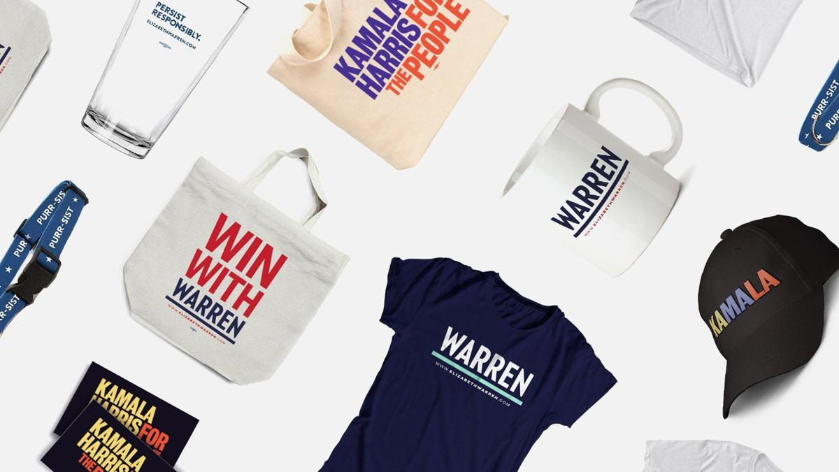 Campaign T-shirts, tote bags and hats