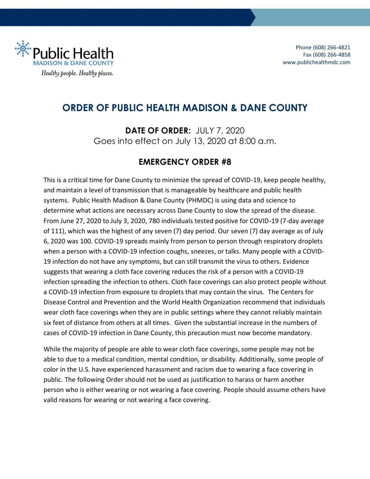 Read Dane County's mask order