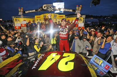 Jeff Gordon celebrates 2015 win, AP photo