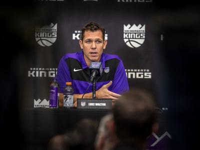 Luke Walton is introduced as the Sacramento Kings head coach on April 15, 2019, at the team practice facility inside the Golden 1 Center in Sacramento, Calif.