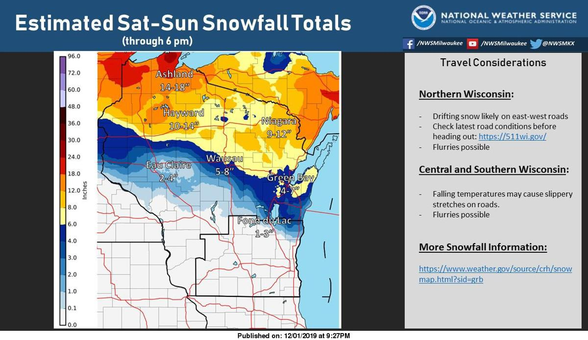 National Weather Service snows totals from Nov. 30-Dec. 1 storm