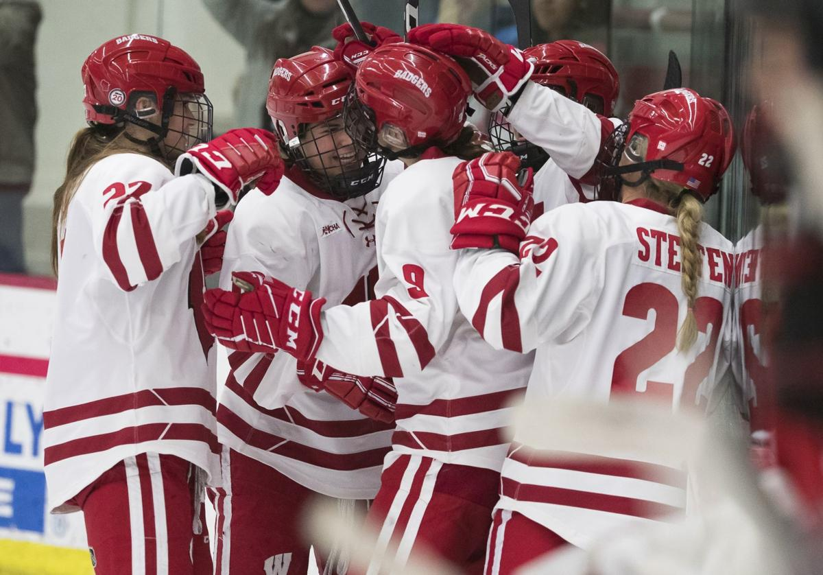 Badgers women's hockey celebration