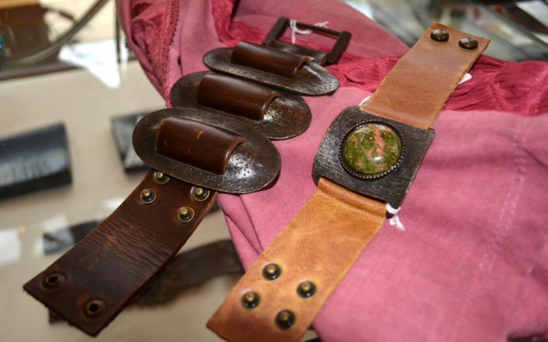 Velvet Button leather cuff bracelets
