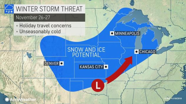 AccuWeather 11-19-19 forecast for snow day before Thanksgiving