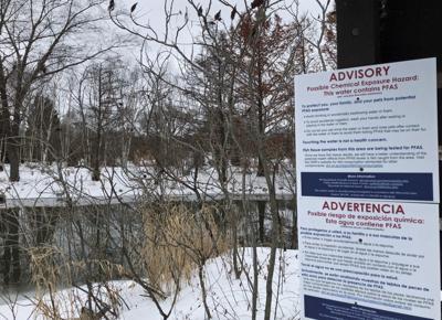 PFAS sign on Starkweather Creek, State Journal photo