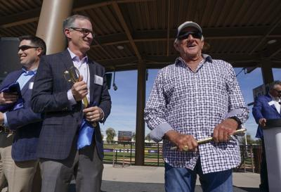 Bob Uecker, Rick Schlesinger, new Brewers spring training facility, AP photo