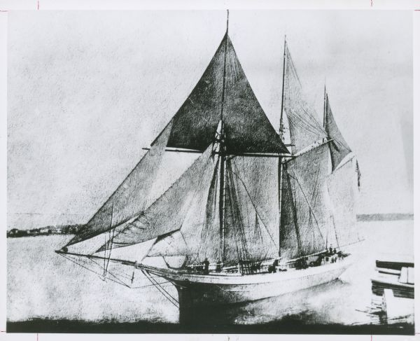 an illustration of the schooner rouse simmons known as the christmas tree ship on the water near a shoreline