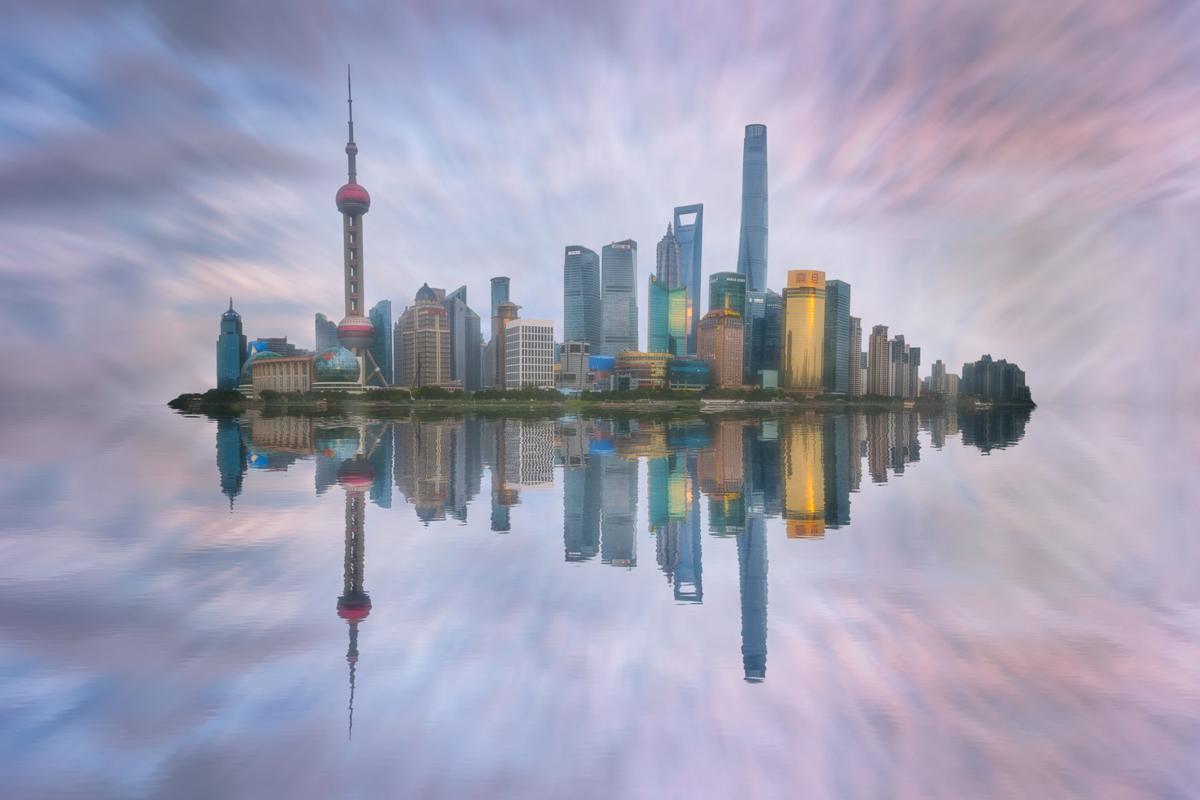 Shanghai Skyline at Dusk, Pudong, Shanghai, China