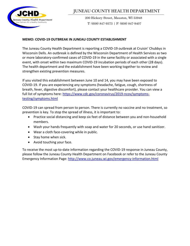 Juneau County COVID-19 Outbreak Memo