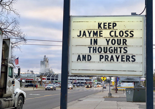 Jayme Closs sign in Barron, AP photo