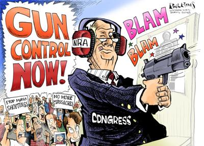 Hands Cartoon: Congress has NRA ear plugs