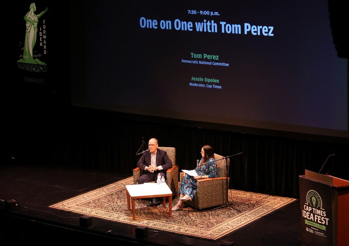 Tom Perez and Jessie Opoien at Cap Times Idea Fest