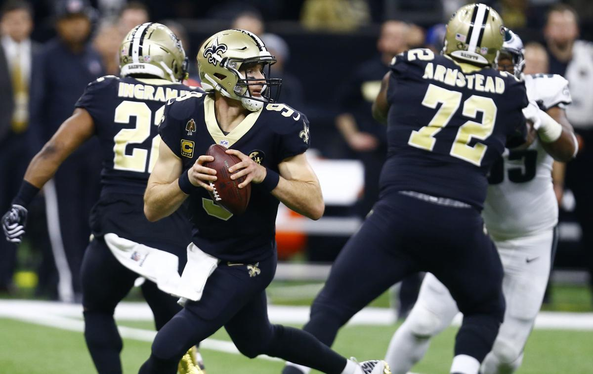 Drew Brees in pocket, AP photo