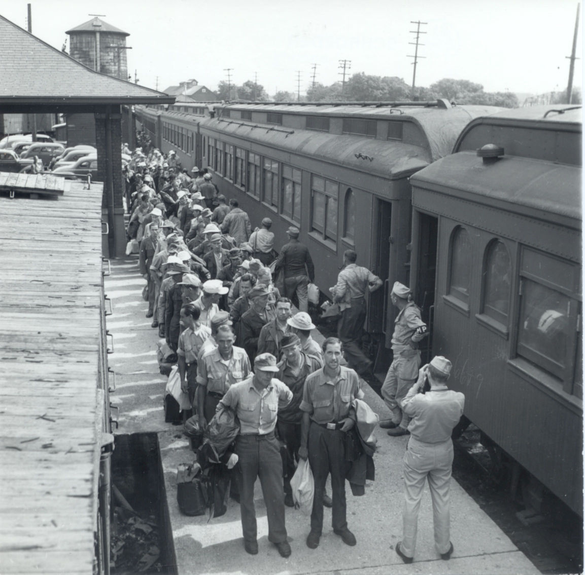 Lined up at the station