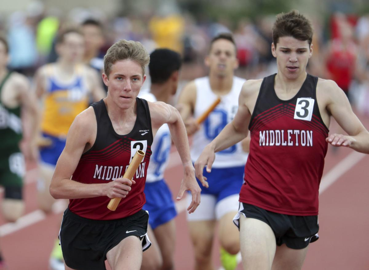 WIAA state boys track photo: Middleton's Caleb Easton and Michael Madoch
