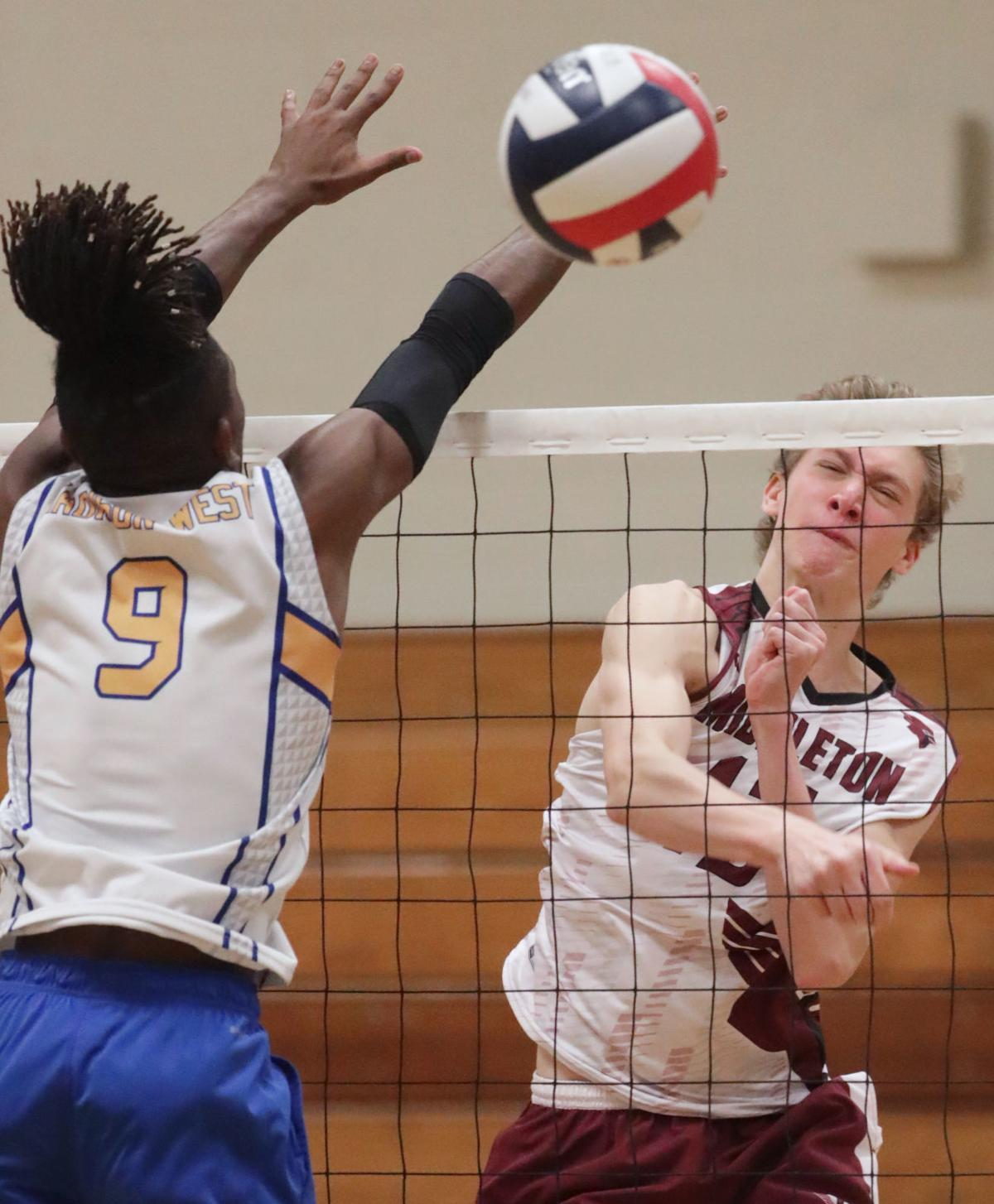 WIAA boys volleyball photo: Middleton's Owen Engling