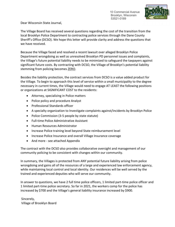 Village of Brooklyn Feb. 9, 2021 statement
