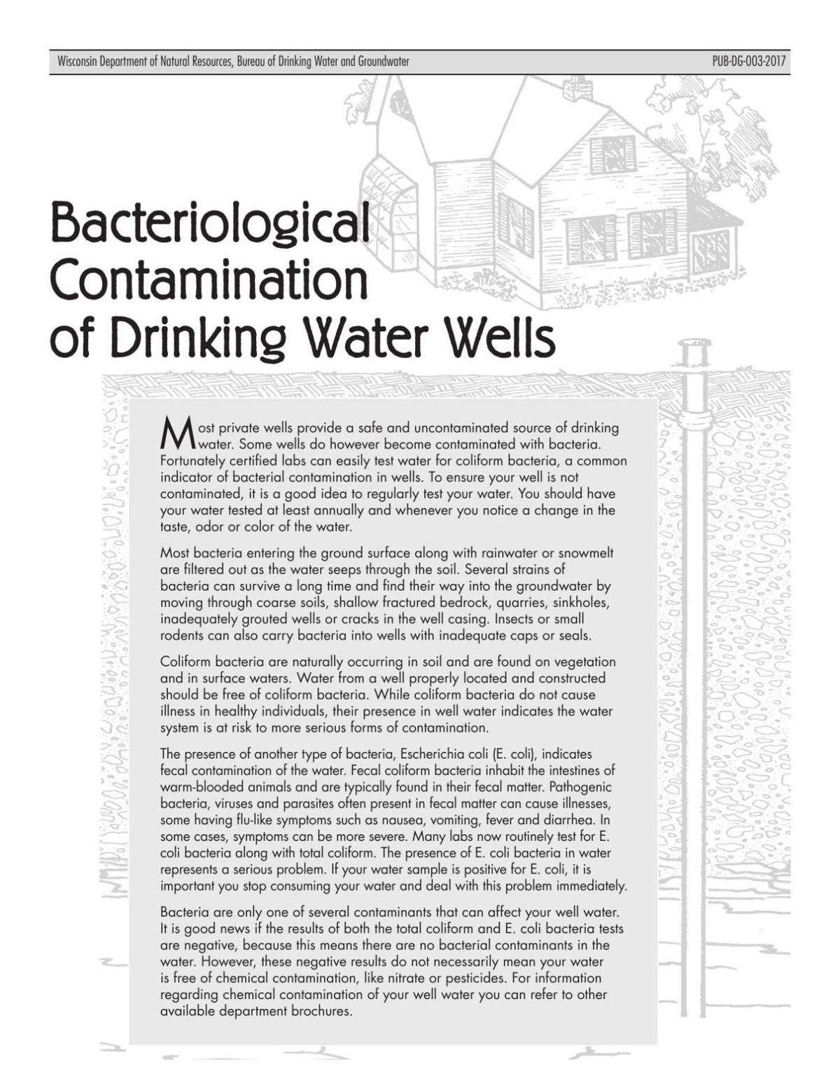 Facts about bacterial contamination of drinking water