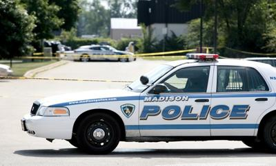 Squad car at homicide scene