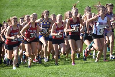 Prep cross country photo: Climbing the hill at the Verona Invitational