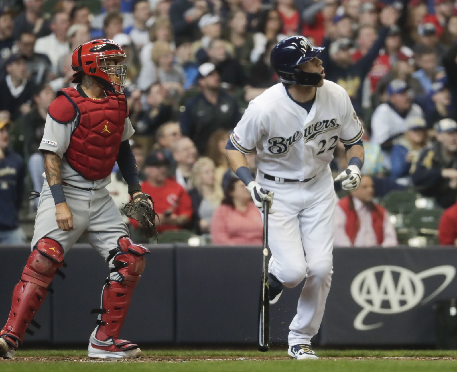 Christian Yelich watches homer, AP photo