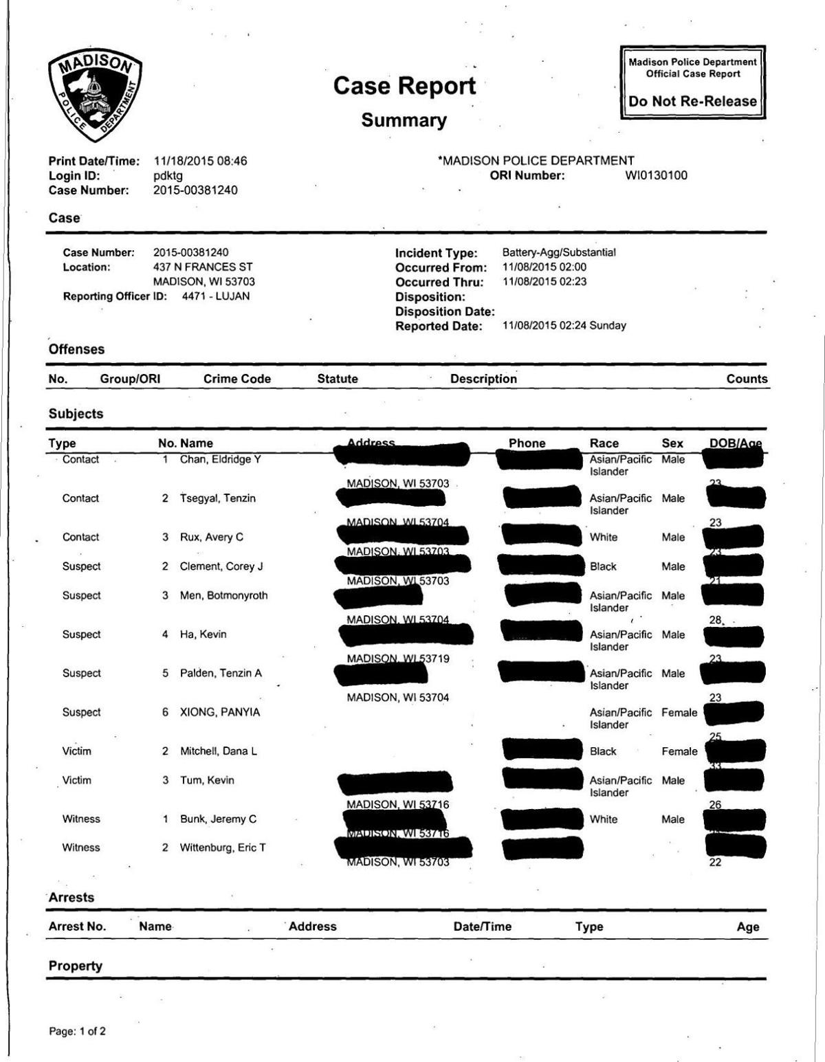 Police report describing the disorderly conduct incident