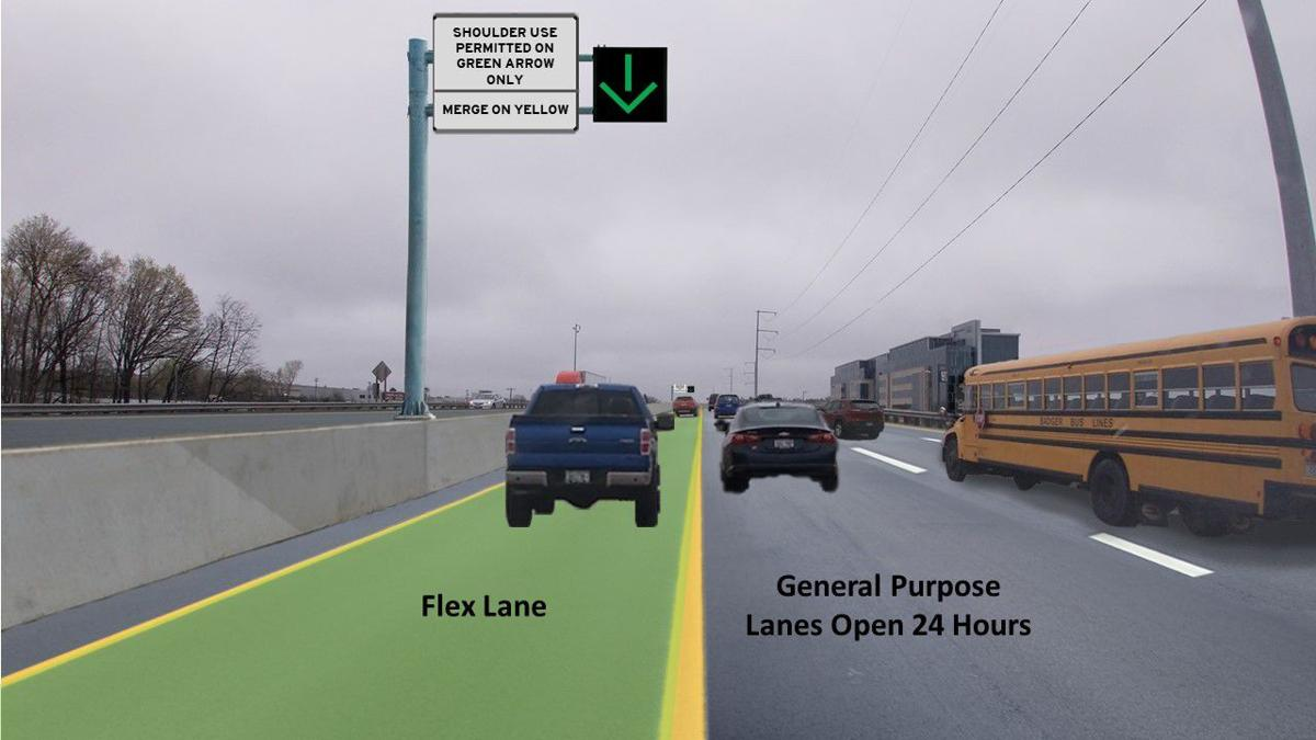 Flex Lane rendering on Madison Beltline near Todd Drive
