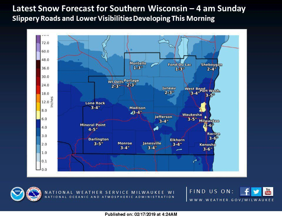 Snowy Sunday For Southern Wisconsin, More Snow Coming