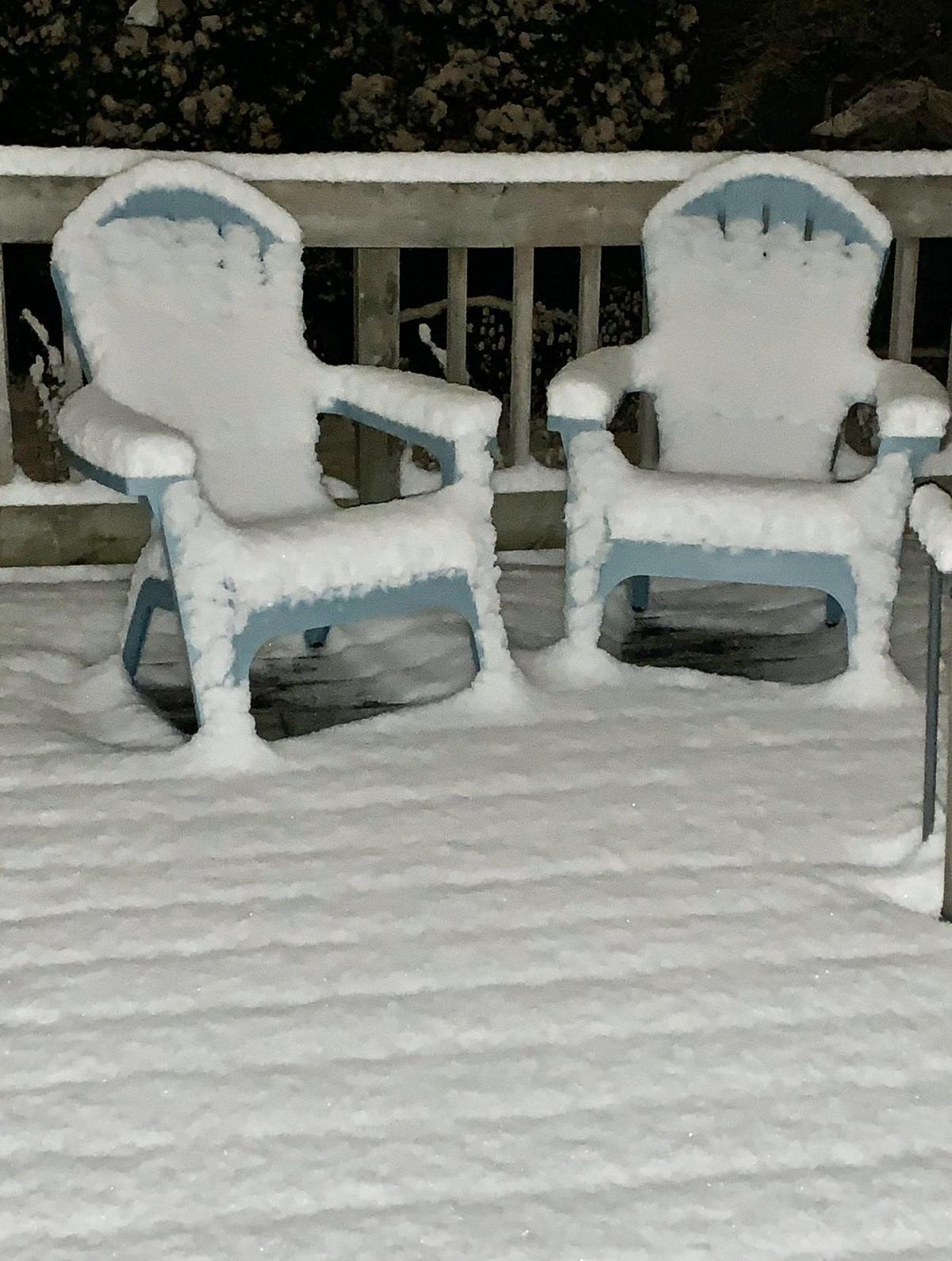 Lawn chairs first snow, Madison.com photo