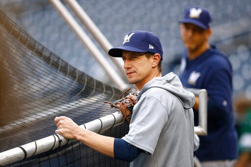 Craig Counsell watches batting practice, AP generic file phot