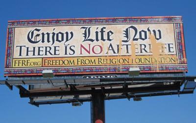 anti-religion billboard vandalized