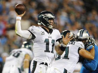 Carson Wentz passing, AP photo