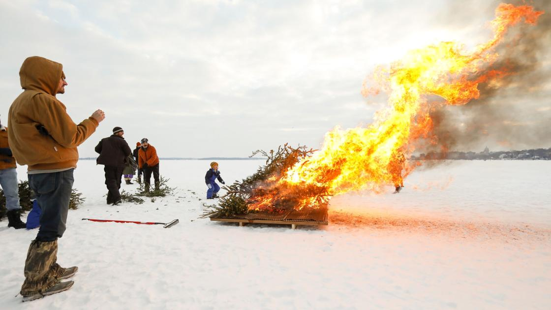 PHOTOS: Christmas Tree forest on Lake Monona goes up in smoke