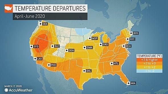 Spring forecast: April-June 2020 temperature departures by AccuWeather