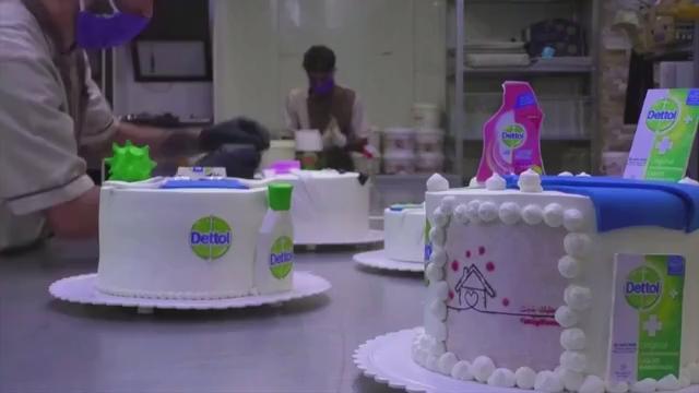 Groovy Corona Cakes Iraqi Bakery Makes Virus And Disinfectant Themed Funny Birthday Cards Online Hendilapandamsfinfo
