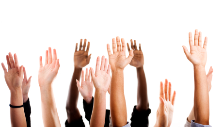 student raised hands all races