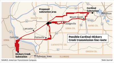 Possible Cardinal-Hickory Creek transmission line route