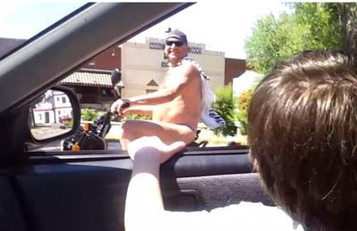 youtube screenshot of thong cape scooter man from http://www.youtube.com/watch?v=VqsJJrenuD8