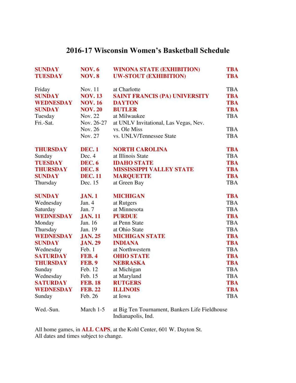 badgers women's basketball: 2016-17 schedule set for wisconsin