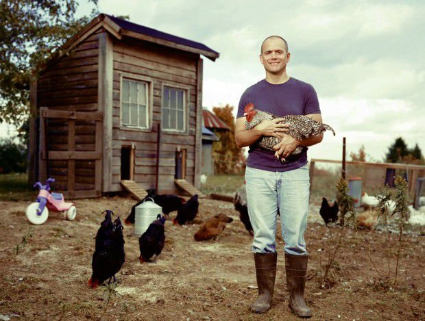 Michael Perry in front of the coop